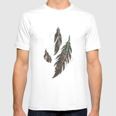 Feather Detail Mens Fitted Tee White SMALL