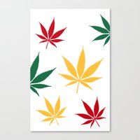 Canvas Print featuring Rasta color leaves on white  by GGDUB