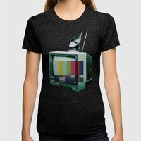 Tune In... Womens Fitted Tee Tri-Black SMALL
