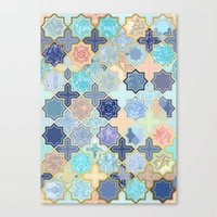 Cream, Navy And Aqua Geo… Canvas Print