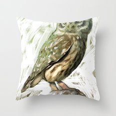 Olive Owl Throw Pillow