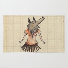 Woman Wolf at school Rug