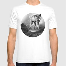 Galactic Wolf White Mens Fitted Tee SMALL