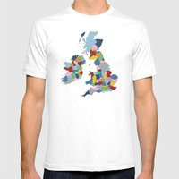 UK On Black Mens Fitted Tee White SMALL