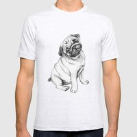 Pug Mens Fitted Tee Ash Grey SMALL