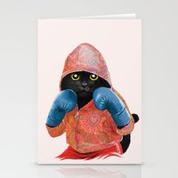 Boxing Cat 2  Stationery Cards