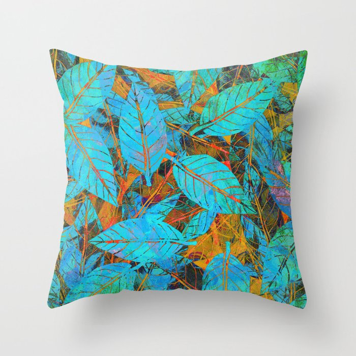 Decorative Pillows Blue And Orange : Blue & Orange Leaves Throw Pillow by Klara Acel Society6