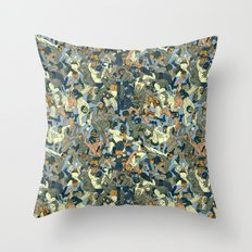 Lucha Pattern(blue&orange) Throw Pillow