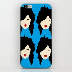Minimalist girl with black hair iPhone & iPod Skin