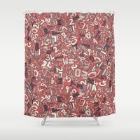 A1B2C3 coral red Shower Curtain