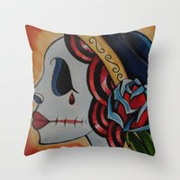 Fiery Deadhead Throw Pillow