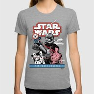 The Force Awakens Womens Fitted Tee Tri-Grey SMALL