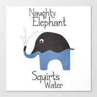 Naughty Elephant Squirts Water. Canvas Print