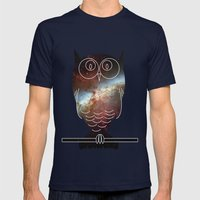 Space Owl Mens Fitted Tee Navy SMALL