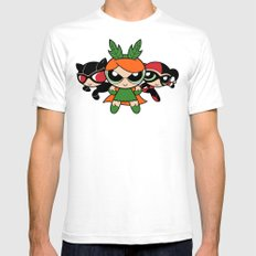 Supervillain Girls White Mens Fitted Tee SMALL