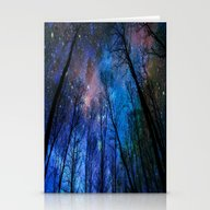 Stationery Cards featuring Black Trees Dark Blue Sp… by 2sweet4words Designs