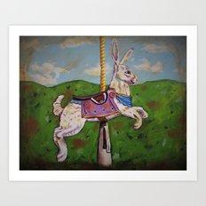 Runaway Rabbit Art Print