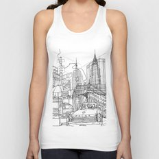 New York! B&W Unisex Tank Top