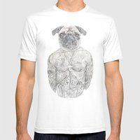 2 Pug Mens Fitted Tee White SMALL