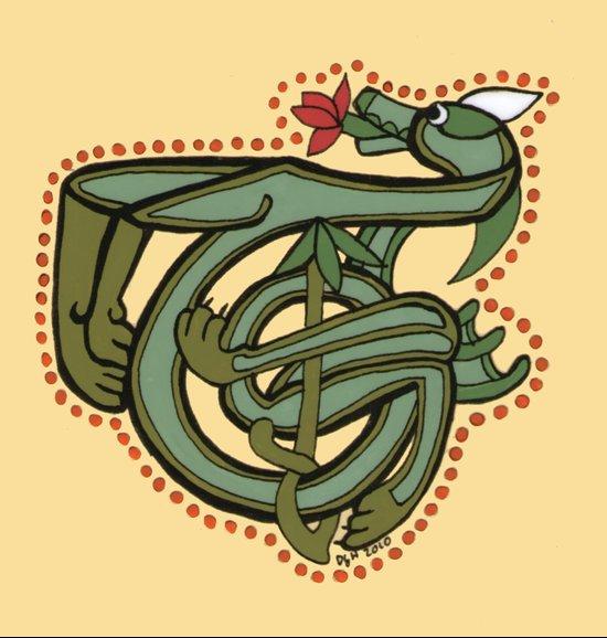 Celtic Dragon Letter T Canvas Print