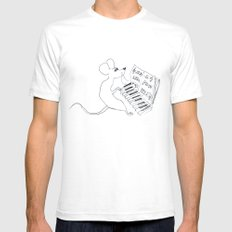 mouse pianist Mens Fitted Tee White SMALL