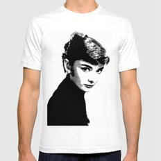 Audrey Hepburn Black and white SMALL White Mens Fitted Tee