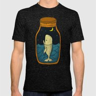 Whale In The Bottle Mens Fitted Tee Tri-Black LARGE