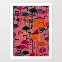 multicoloured flamingos Art Print
