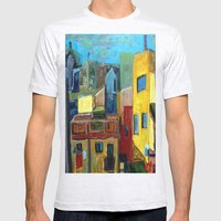 Barcelona Rooftops Mens Fitted Tee Ash Grey SMALL