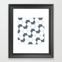 Slate gray hexagon pattern Framed Art Print