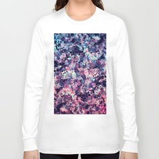 Teal, Pink, and Black Granite Marble Pattern Long Sleeve T-shirt