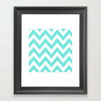 TEAL CHEVRON Framed Art Print