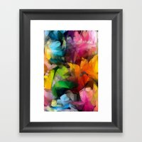 Dancing Rainbow Feathers Framed Art Print