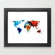Framed Art Print featuring Map Of The World 3 -Colo… by Sharon Cummings