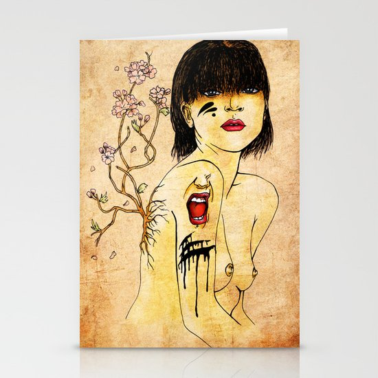 Portrait - asian woman Stationery Card