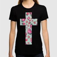 Floral Cross Womens Fitted Tee Black SMALL