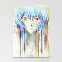 Rei Ayanami from Evangelion Digital Mixed Media Stationery Cards