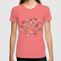 cats and flowers Womens Fitted Tee Pomegranate SMALL