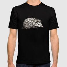 Woodland Creatures: Hedgehog Mens Fitted Tee Black SMALL