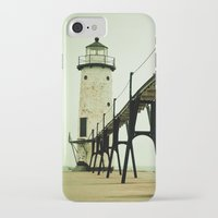clouds iPhone & iPod Cases featuring Manistee Light by Olivia Joy StClaire