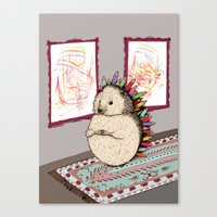 Hedgehog Artist Canvas Print