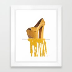 Dripping Yellow Shoe Framed Art Print