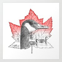 Canada Goose on Maple Leaf (with some red) Art Print