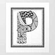 Zentangle P Monogram Alp… Art Print