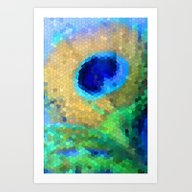 Art Print featuring Abstract Peacock by Hannah