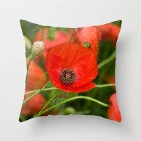 Wild Red Poppies Throw Pillow