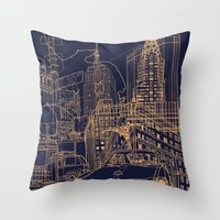 New York! Night Throw Pillow