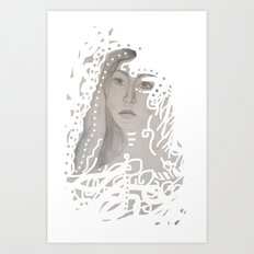grey face made of pencil and lace Art Print