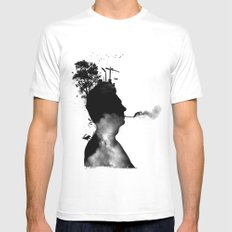 URBAN BLACK MAN White SMALL Mens Fitted Tee