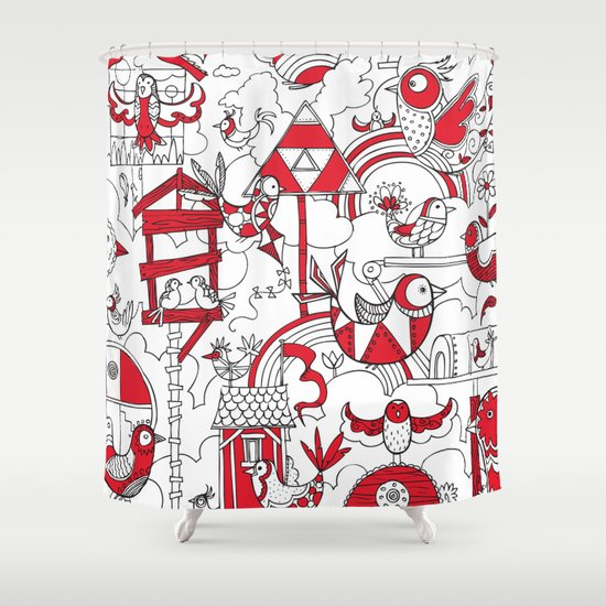 Birdhouse Black White And Red Shower Curtain By Martin Orme Society6